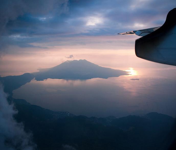 Over Sakurajima Volcano