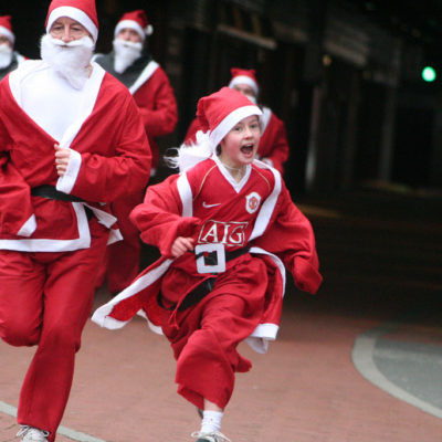 Charity Santa fun run at Manchester