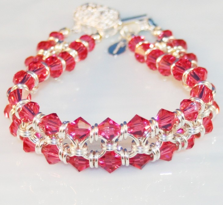 Indian Pink ChainMaille Bracelet in Sterling Silver