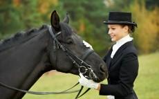 Horsewoman Jockey In Uniform With Horse